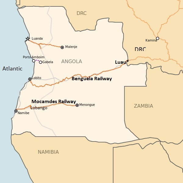 Angolan railway map, appearing in Africa PORTS & SHIPS maritime news