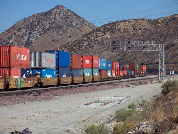 An example of a double-stacked container train in the Cajon Pass, USA. Picture: Wikipedia Commons, featuring in Africa PORTS & SHIPS maritime news