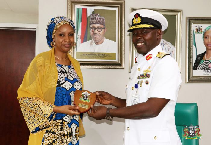 The Managing Director of the Nigerian Ports Authority (NPA), Hadiza Bala Usman (7th left) with the Flag Officer Commanding Western Naval Command, Rear Admiral, Obed Habila Ngalabak. Picture Marine First, featured in Africa PORTS & SHIPS maritime news