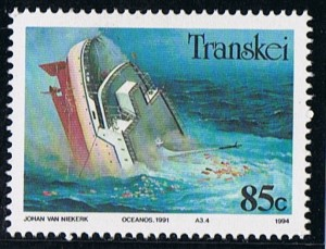Transkei stamp of the Oceanos sinking, appearing in Africa PORTS & SHIPS maritime news