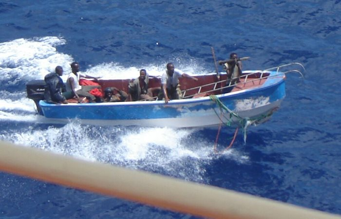 Pirate skiff off Somali in this file EU NAVFOR photo. Note the rocket grenade launcher and boarding ladder, appearing in Africa PORTS & SHIPS maritime news