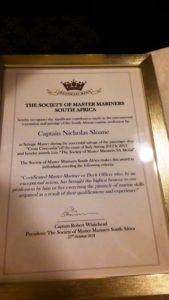 The citation awarded to Cape Nick Sloane together with a gold medal award given by SOMMSA, featured in Africa PORTS & SHIPS maritime news