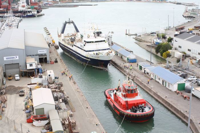 San Waitaki and Tapuhi in Lyttelton dry dock, featured in Africa PORTS & SHIPS maritime news. Picture: Alan Calvert