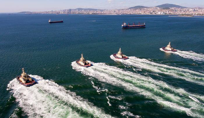 The four tugs heading to Morocco - Svitzer Tanger, Svitzer Tetouan, Svitzer Chefchaouen and Svitzer Al Hoceima all measure 29.4m LOA with a beam of 13.3m and attain a bollard pull ahead in excess of 90 tonnes and a free-running speed of around 14½ knots, featured in Africa PORTS & SHIPS maritime news