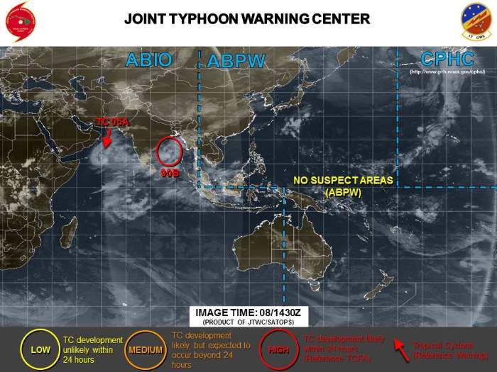 Tropical Cyclone Luban (05a) position yesterday. Image: The Joint Typhoon Warning Centre, featured in Africa PORTS & SHIPS maritime news