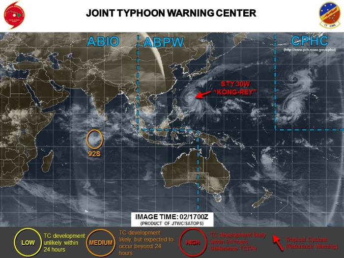 The developing storm as at 17h00 on 2 October 2018. Map: Joint Typhoon Warning Center, featured in Africa PORTS & SHIPS maritime news