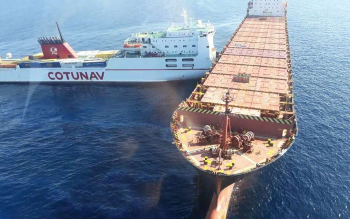 The Roro ferry Ulysses which collided with the at anchor container ship CSL Virginia, featured in Africa PORTS & SHIPS maritime news