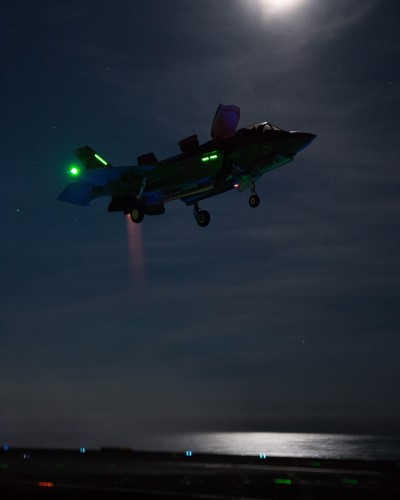 F-35 Lightning fighter jets have conducted their first night flying trials off the United Kingdom's largest warship, HMS Queen Elizabeth. The aircraft carrier, which first landed F-35 Lightning jets on board at the end of September, is currently conducting flight testing off the east coast of the United States. Pictures show how the night time trials, which up until now have only been tested in simulators or on the ground, were carried out using state-of-the-art night-vision technology, with the pilots and aircraft handlers successfully guiding the supersonic fighter jets onto the flight deck. Some trials were also carried out without night vision technology to ensure the jets' capability in any eventuality. Pictures: MoD Crown Copyright 2019 ©, featured in Africa PORTS & SHIPS maritime news