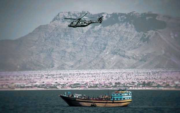 ITS Montenegro helicopter on patrol off Bosaso coast, appearing in Africa PORTS & SHIPS maritime news