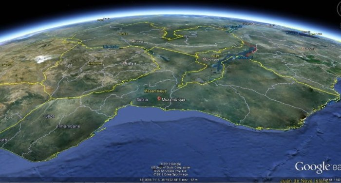 Mozambique map ex Google Earth, featured in African PORTS & SHIPS maritime news