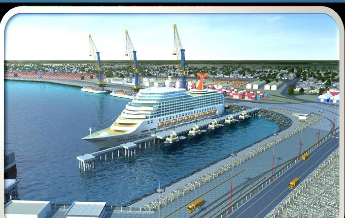 What the new passenger ship jetty will look like. The container terminal is to the left in this artistic depiction. Picture: Namport