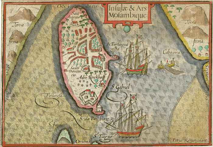 1598 map of Ilha de Mocambique, featured n Africa PORTS & SHIPS maritime news