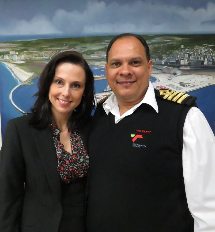 Tracy Lovemore (CMA-CGM's Regional Manager) with Captain Brynn Adamson (TNPA), appearing in Africa PORTS & SHIPS maritime news