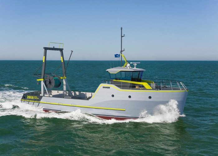 Drawing of Damen Sea Fisher stern trawler, featured in Africa PORTS & SHIPS maritime news