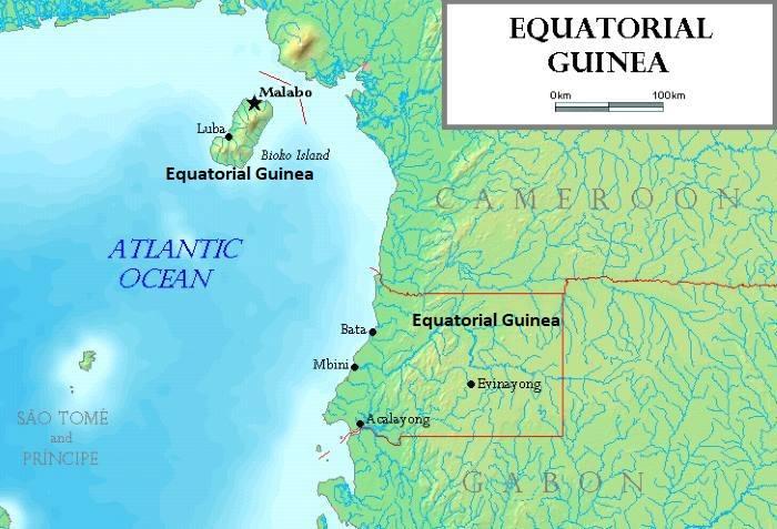 Map of Equatorial Guinea, map: Wikipedia
