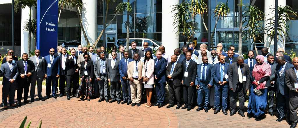 Delegates to the IMO workshop on the implementation of the Djibouti Code of Conduct gather for a group picture ahead of the three-day meeting being held in Durban, featured in Africa PORTS & SHIPS maritime news