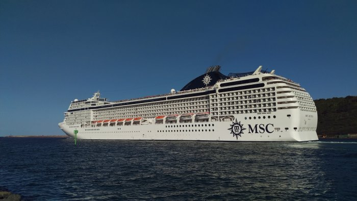 MSC Musica sailing from Durban last Thursday, 8 November 2018. Picture: Clinton Wyness, as reported in Africa PORTS & SHIPS maritime news