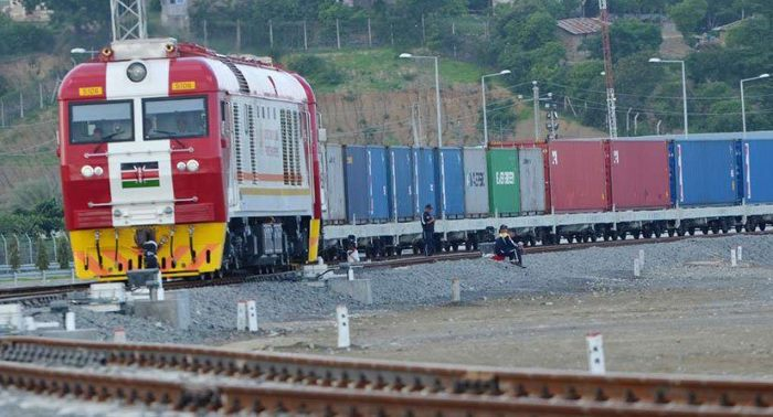 A Kenya Railways standard gauge container train, featured in Africa PORTS & SHIPS maritime news
