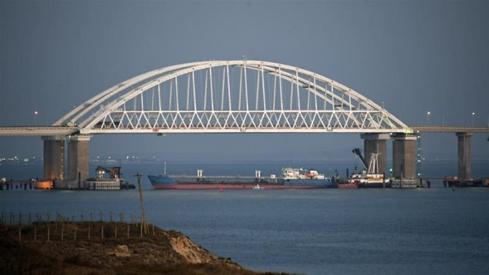 Russian ships blocking access under the bridge. Picture: Ukrainian Presidential Press Service, featured in Africa PORTS & SHIPS maritime news