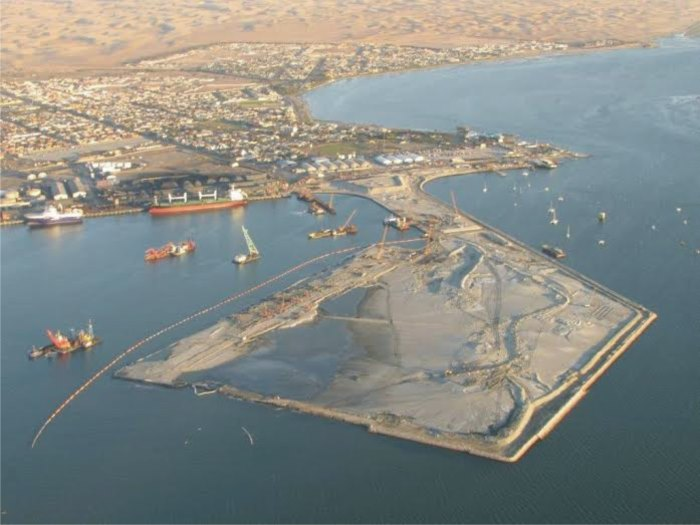 Walvis Bay, the port and town on the edge of the desert, taken earlier during the construction phase of the port's new container terminal, which is now nearing completion, featured in Africa PORTS & SHIPS maritime news