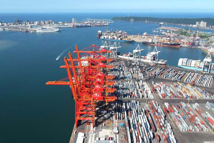 Durban Container Terminal scene, featured in Africa PORTS & SHIPS maritime news