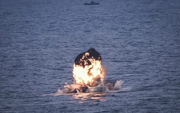 Destroying a pirate whaler off Somalia. Picture: EU NAVFOR, featured in Africa PORTS & SHIPS maritime news