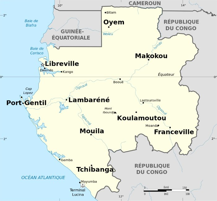 Map of Gabon showing location of Latoursville, map courtesy Wikipedia, featured in Africa PORTS & SHIPS maritime news