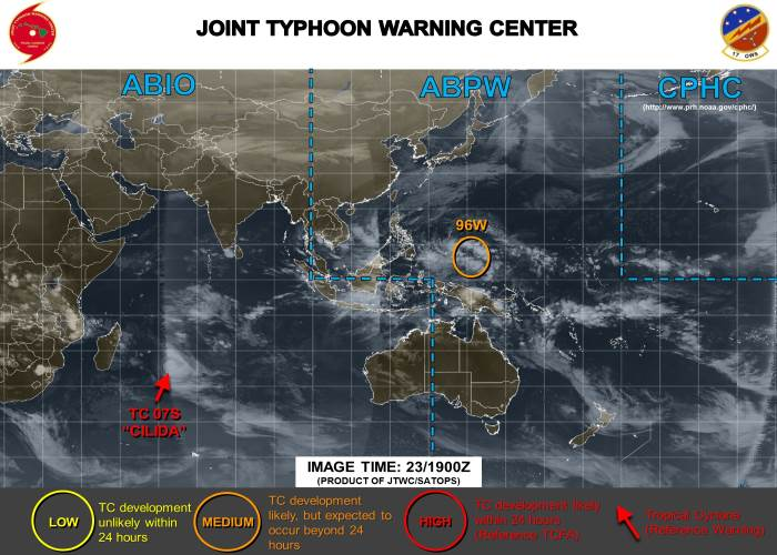 Cyclone Cilida 23 December 2018 at 19h00, featured in Africa PORTS & SHIPS, source: JTWC