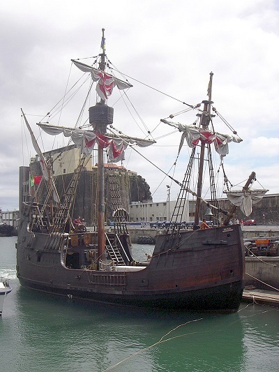 The replica of the Santa Maria at Barcelona, featured in Africa PORTS & SHIPS maritime news