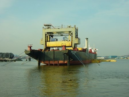 Lash carrier Rhine Forest in 2006 in the Waalhaven of Rotterdam, Netherlands, featured in Africa PORTS & SHIPS maritime news