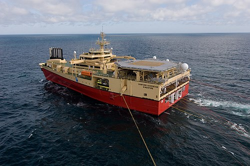 Seismic survey vessels similar to Ramform Sovereign (above) have been observed in operations of the South Africa East Coast. Featured in a report in Africa PORTS & SHIPS maritime news