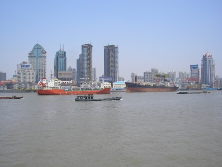 Shanghai, 2006. Is the vessel beneath the Nikon advert an A&P SD 14, of 14,000 tonnes, built as a no frills modern tramp ship from 1967? Some of the class may still be afloat. Featured in Africa PORTS & SHIPS maritime news