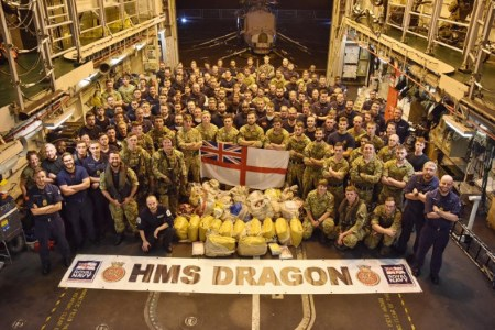 Crew of HMS Dragon with the haul of narcotics, featured in Africa PORTS & SHIPS maritime news