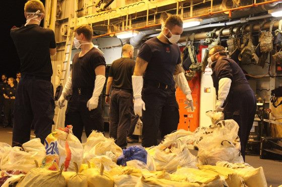 Ship's company sort and weigh the narcotics, featured in Africa PORTS & SHIPS maritime news