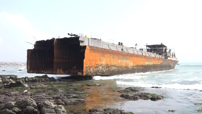 Oil barge vessel MV Anthony with her bow section missing aground off the Tema port anchorage. Picture: GPHA, appearing in Africa PORTS & SHIPS maritime news