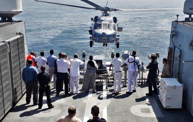 Somaliand Coast Guard personnel watch a helicopter landing on board the Spanish naval ship ESPS Relámpago. Picture: EU NAVFOR, featuredin Africa PORTS & SHIPS