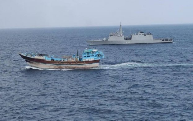 INS Sunayna escorting the merchant dhow carrying World Food Programme aid. Picture: EU NAVFOR, featured in Africa PORTS & SHIPS