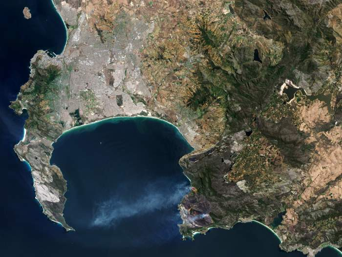 Image: 'Title Cape fires.' Released 11/01/2019, 4:03 pm. Copyright contains modified Sentinel data (2019), processed by ESA. © ESA, featuring in Africa PORTS & SHIPS