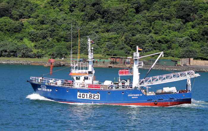 Krustamoz IV, one of a fleet of Mozambique-based prawn trawlers. Picture: Keith Betts, featured in Africa PORTS & SHIPS