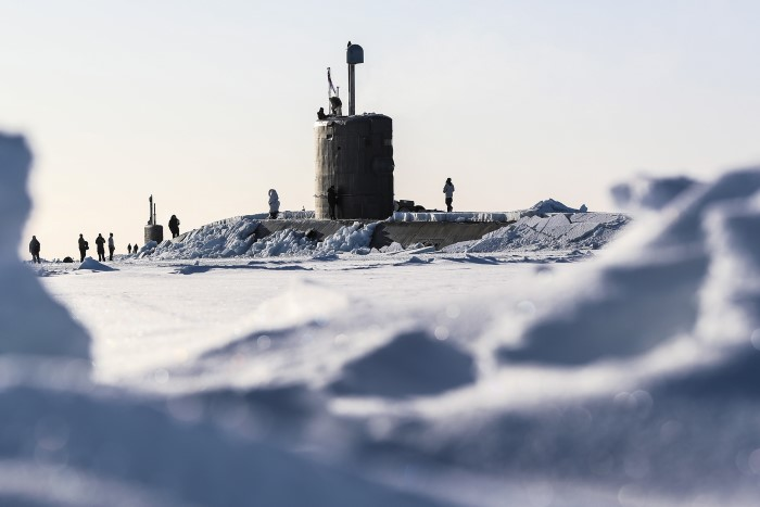 Image of Royal Navy submarine HMS Trenchant, broken through the ice of the North Pole on Polar Ice Exercise 18 (ICEX). ICEX is a series of demanding trials in the harsh climate of the Arctic Circle, designed to test submariners' skills in operating under the Arctic ice cap. Trenchant joined US submarines USS Connecticut and USS Hartford for the drills, co-ordinated by the US Navy's Arctic Submarine Laboratory. Featured in Africa PORTS & SHIPS