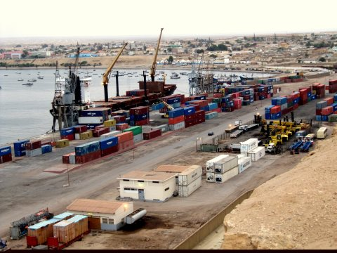 Namibe's port serving southern Angola, featured in Africa PORTS & SHIPS