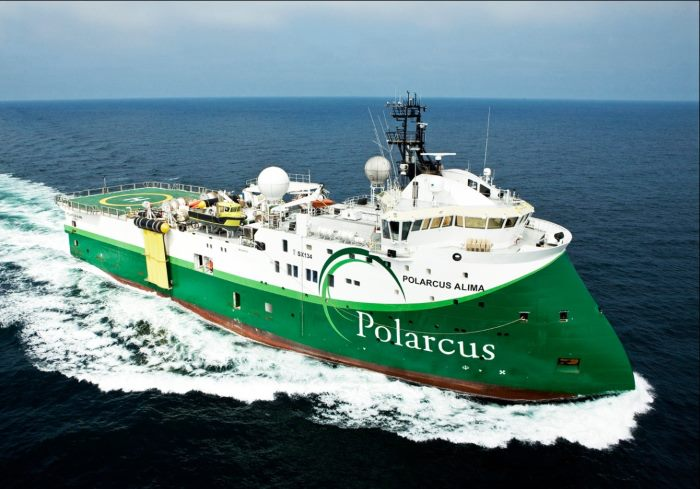 Polarcus Alima, undertaking a seismic survey offshore of Namibia from today (Friday 25 January 2019), featured in Africa PORTS & SHIPS. Picture: Polarcus