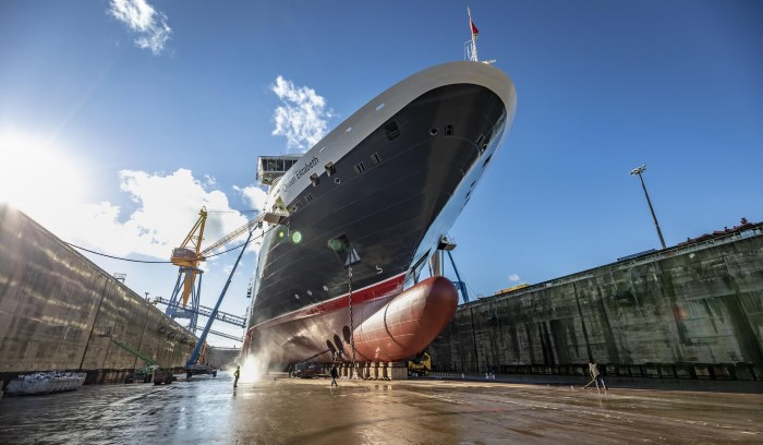 the Cunard ship Queen Elizabeth underwent an extensive refit in the Damen Brest Shipyard. Pictures courtesy Damen Shipyards and featured in Africa PORTS & SHIPS