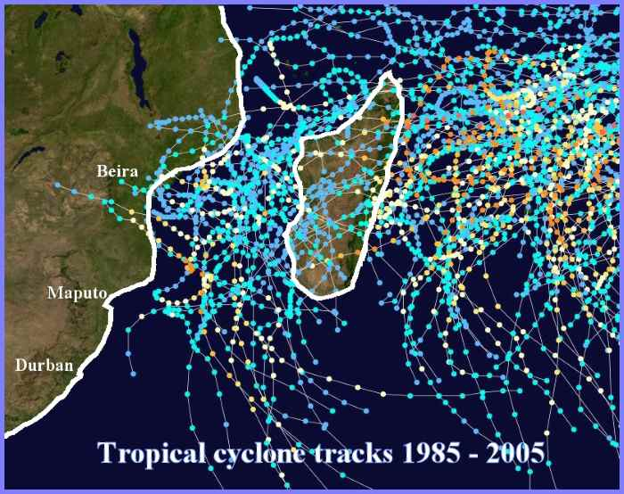 Tropical cyclone tracks in western Indian Ocean. Picture: Wikipedia Commons, featured in Africa PORTS & SHIPS