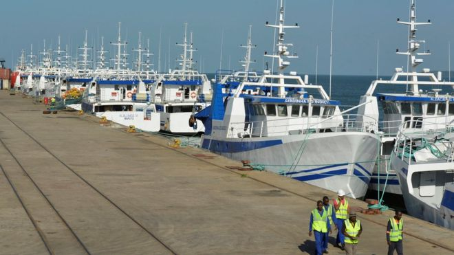 EMATUM fishing fleet in Maputo harbour, featured in Africa PORTS & SHIPS