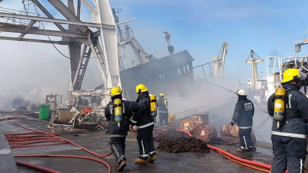 Fire on the tawler TROPICAL I in Durban harbour, Thursday 14 February 2019, picture courtesy Rescue Care, featured in Africa PORTS & SHIPS
