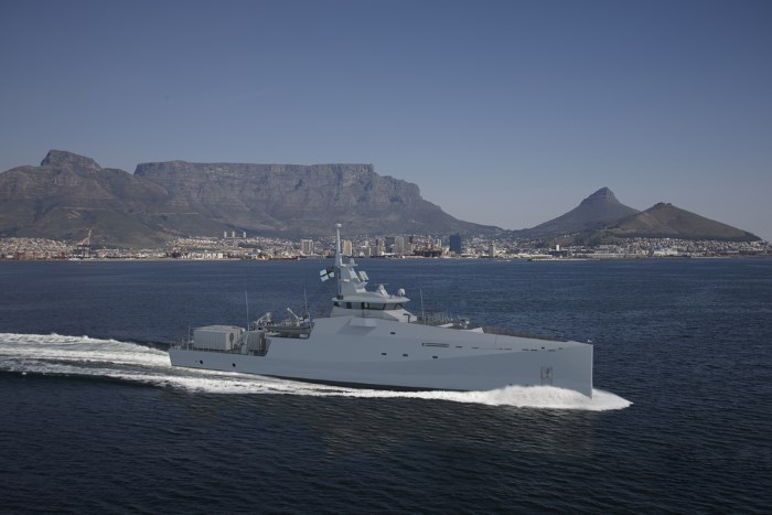 One of three Multi-mission inshore patrol vessel for the SA Navy, under construction at Damen Shipyards Cape Town