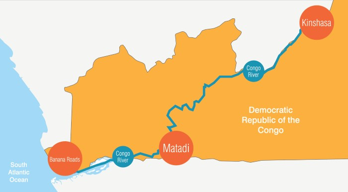 Congo River Schematic: Matadi, located on the left bank of the Congo River, 92 miles upstream, is the closest port gateway to the DRC capital of Kinshasa and offers major savings in overland transportation, featured in Africa PORTS & SHIPS