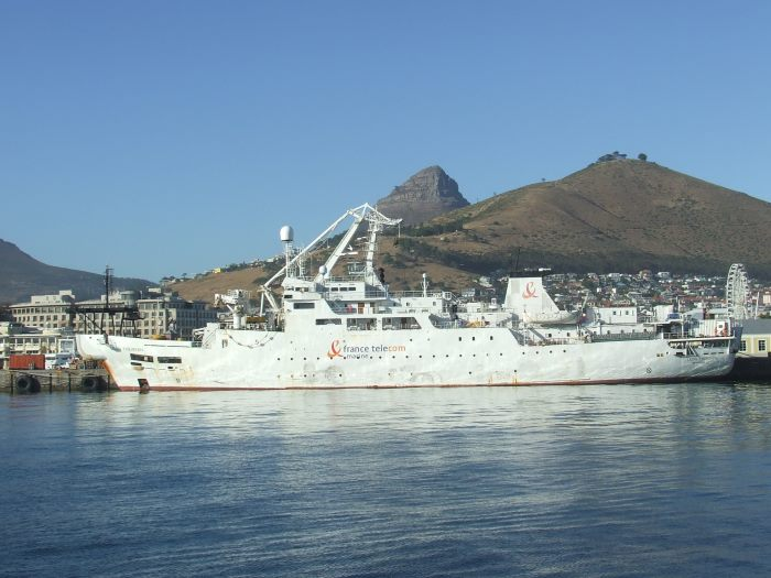Leon Thevenin, the French cable layer stationed at Cape Town which operates on stand-by along the African coast. Picture: Terry Hutson, featured in Africa PORTS & SHIPS