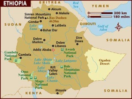 Ethiopia and the Ogaden Desert basin, featured in Africa PORTS & SHIPS